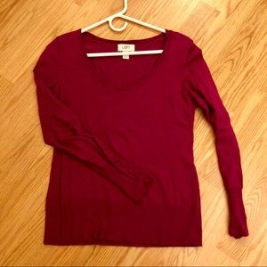 LOFT magenta round neck sweater w/ sleeve button